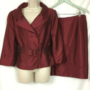 Tahari 12P Skirt Suit Red Belted Jacket Christmas